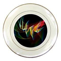 Northern Lights, Abstract Rainbow Aurora Porcelain Display Plate by DianeClancy