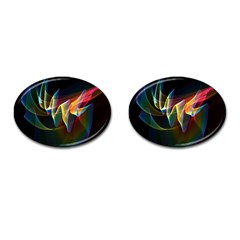 Northern Lights, Abstract Rainbow Aurora Cufflinks (oval) by DianeClancy