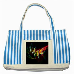Northern Lights, Abstract Rainbow Aurora Blue Striped Tote Bag by DianeClancy