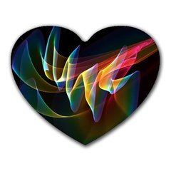 Northern Lights, Abstract Rainbow Aurora Mouse Pad (heart) by DianeClancy
