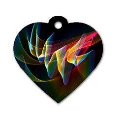 Northern Lights, Abstract Rainbow Aurora Dog Tag Heart (one Sided)  by DianeClancy