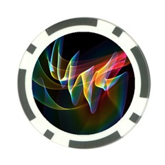 Northern Lights, Abstract Rainbow Aurora Poker Chip by DianeClancy