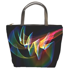 Northern Lights, Abstract Rainbow Aurora Bucket Handbag by DianeClancy