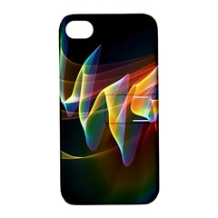 Northern Lights, Abstract Rainbow Aurora Apple Iphone 4/4s Hardshell Case With Stand by DianeClancy