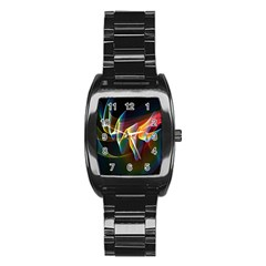 Northern Lights, Abstract Rainbow Aurora Stainless Steel Barrel Watch by DianeClancy