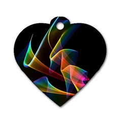 Crystal Rainbow, Abstract Winds Of Love  Dog Tag Heart (one Sided)  by DianeClancy