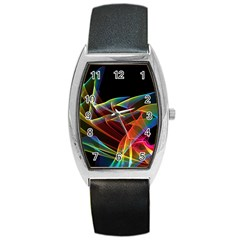 Dancing Northern Lights, Abstract Summer Sky  Tonneau Leather Watch by DianeClancy