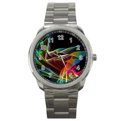 Dancing Northern Lights, Abstract Summer Sky  Sport Metal Watch by DianeClancy