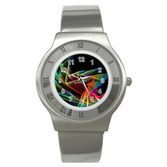 Dancing Northern Lights, Abstract Summer Sky  Stainless Steel Watch (slim) by DianeClancy