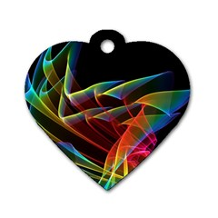 Dancing Northern Lights, Abstract Summer Sky  Dog Tag Heart (one Sided)  by DianeClancy