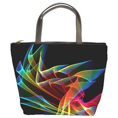Dancing Northern Lights, Abstract Summer Sky  Bucket Handbag by DianeClancy