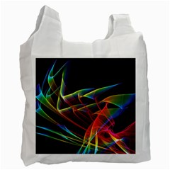 Dancing Northern Lights, Abstract Summer Sky  White Reusable Bag (one Side) by DianeClancy