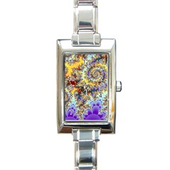 Desert Winds, Abstract Gold Purple Cactus  Rectangular Italian Charm Watch by DianeClancy