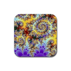 Desert Winds, Abstract Gold Purple Cactus  Drink Coaster (square) by DianeClancy
