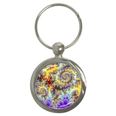 Desert Winds, Abstract Gold Purple Cactus  Key Chain (round)