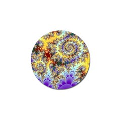 Desert Winds, Abstract Gold Purple Cactus  Golf Ball Marker by DianeClancy