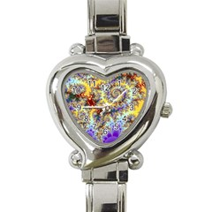 Desert Winds, Abstract Gold Purple Cactus  Heart Italian Charm Watch  by DianeClancy