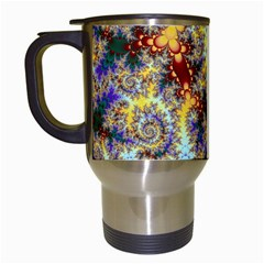 Desert Winds, Abstract Gold Purple Cactus  Travel Mug (white) by DianeClancy