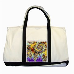 Desert Winds, Abstract Gold Purple Cactus  Two Toned Tote Bag by DianeClancy