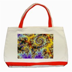 Desert Winds, Abstract Gold Purple Cactus  Classic Tote Bag (red) by DianeClancy