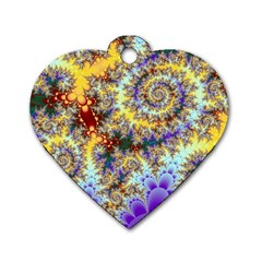 Desert Winds, Abstract Gold Purple Cactus  Dog Tag Heart (two Sided) by DianeClancy