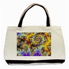 Desert Winds, Abstract Gold Purple Cactus  Twin Sided Black Tote Bag by DianeClancy