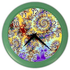 Desert Winds, Abstract Gold Purple Cactus  Wall Clock (color)