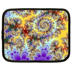 Desert Winds, Abstract Gold Purple Cactus  Netbook Sleeve (xxl) by DianeClancy