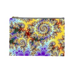 Desert Winds, Abstract Gold Purple Cactus  Cosmetic Bag (large) by DianeClancy