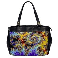 Desert Winds, Abstract Gold Purple Cactus  Oversize Office Handbag (one Side) by DianeClancy