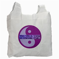 Yin & Yang Of Chronic Pain White Reusable Bag (one Side) by FunWithFibro