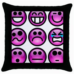 Chronic Pain Emoticons Black Throw Pillow Case
