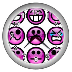 Chronic Pain Emoticons Wall Clock (silver)