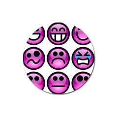 Chronic Pain Emoticons Magnet 3  (round) by FunWithFibro