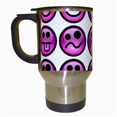Chronic Pain Emoticons Travel Mug (white) by FunWithFibro