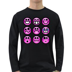 Chronic Pain Emoticons Men s Long Sleeve T Shirt (dark Colored)