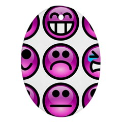 Chronic Pain Emoticons Oval Ornament (two Sides) by FunWithFibro