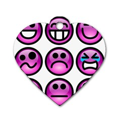 Chronic Pain Emoticons Dog Tag Heart (one Sided)  by FunWithFibro
