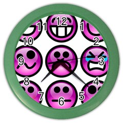 Chronic Pain Emoticons Wall Clock (color)