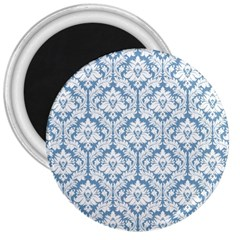 White On Light Blue Damask 3  Button Magnet by Zandiepants