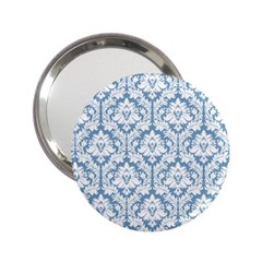 White On Light Blue Damask Handbag Mirror (2 25 ) by Zandiepants