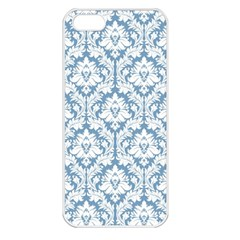 White On Light Blue Damask Apple Iphone 5 Seamless Case (white) by Zandiepants