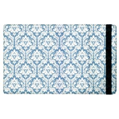 White On Light Blue Damask Apple Ipad 2 Flip Case by Zandiepants