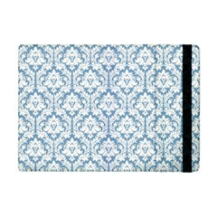 White On Light Blue Damask Apple Ipad Mini Flip Case by Zandiepants
