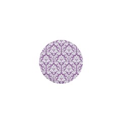 White On Lilac Damask 1  Mini Button Magnet by Zandiepants
