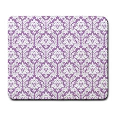 White On Lilac Damask Large Mouse Pad (rectangle) by Zandiepants
