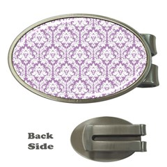 White On Lilac Damask Money Clip (oval)