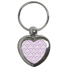 White On Lilac Damask Key Chain (heart)