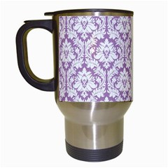 White On Lilac Damask Travel Mug (white) by Zandiepants