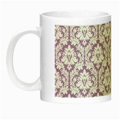 White On Lilac Damask Glow In The Dark Mug by Zandiepants